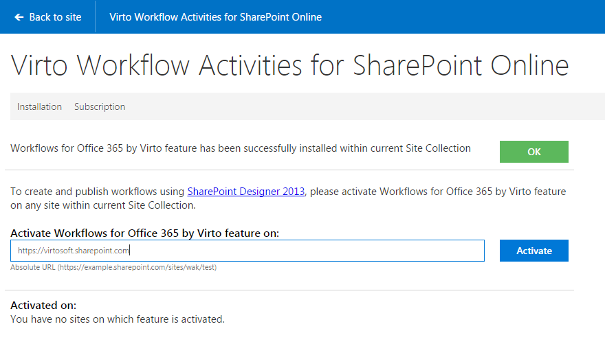 Activate the Workflows for Office 365 by Virto