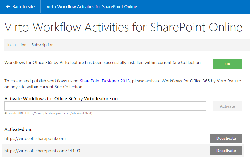Start the Workflows for Office 365 by Virto